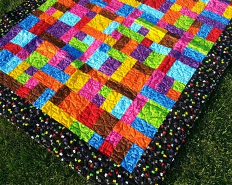 Twin Size Quilted Blanket, Twin Bed Blanket, Patchwork Quilt, Patchwork Quilted Blanket, Race Car Twin Size Quilt