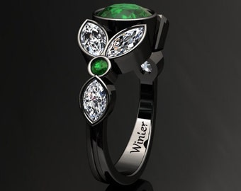 Emerald Engagement Ring 1.50 Carat Emerald And Moissanite Ring 14k or 18k Black Gold. Style Number W16GBK