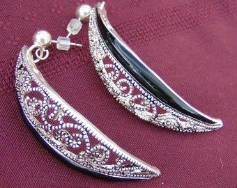 Vintage Repurposed Earrings - Handmade Silver Earrings with Black, Pierced Vintage Earrings by JewelryArtistry - E654