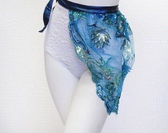 Blue Sequin Lace Side Bustle Skirt, EDM, Rave, Festival Fashion, Costume, Concert, Dance.