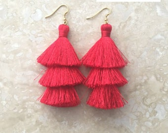 Zara Red Tassel Earrings, Long Tassle Earrings, Long Red Tassel Earrings,Red Earrings,Dangle Earrings, Red Silk Tassels, Friend Gift
