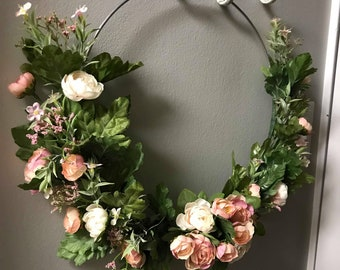 Modern Pink and White Floral Wreath