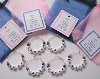 Personalised Wedding Favour - Navy & Baby Pink - Name Wine Glass Charms