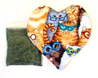Catnip  Heart Toy and Catnip Large Size Cats in Funky Glasses  Refillable