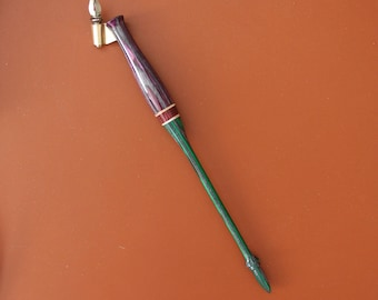 Oblique Segmented Calligraphy Pen in Dyed Birch