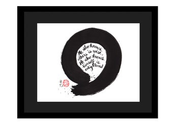 Enso Painting with zen calligraphy in English, handbrushed , not a print