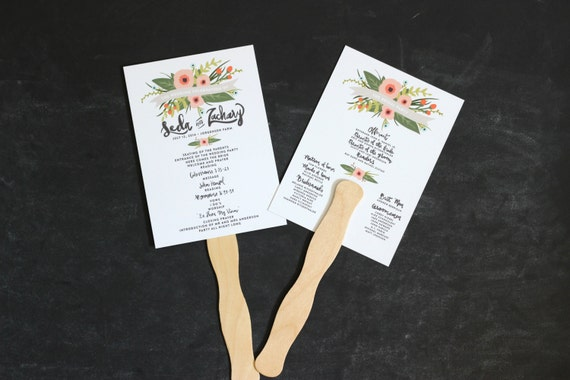 wedding program fan printable whimsical floral unique design