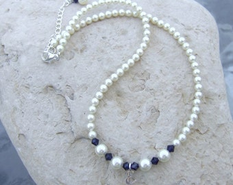 Beautiful Pearl and Crystal Necklace with Sterling Initial Charm Silver Plated N063