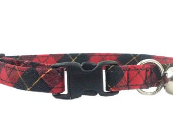 Red and Black Checker Cat or Kitten Breakaway Safety Collar