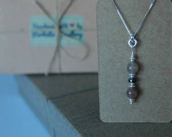 "Handmade Sterling Silver, Hematite & Double Moonstone Pendant on an 18"" STS 925 Box Chain."