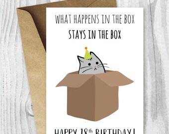 18th Birthday Printable Cards, Funny 18th Birthday Cards, Funny Cat Birthday Card, Printable Cat Cards, Instant Download, 18 Birthday