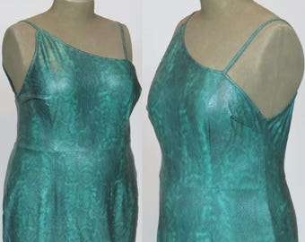 faux Leather, GREEN SNAKESKIN DRESS, drag gown, Stage Wear, Plus Size, vintage
