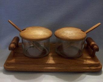 Teakwood Double Jam Jar Set, Teak Jar Serving Set, Goodwood Jam Jars, Julie Pomerantz Serving Set, Teakwood and Glass Serving Set