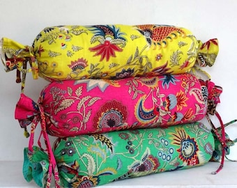 Pillow decorative pillow in green paisley print cotton candy