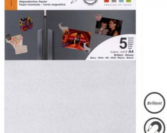 SUPER magnetic 4mm - printable white glossy magnetic paper - A4 - 5 PCs sissi scrapbooking