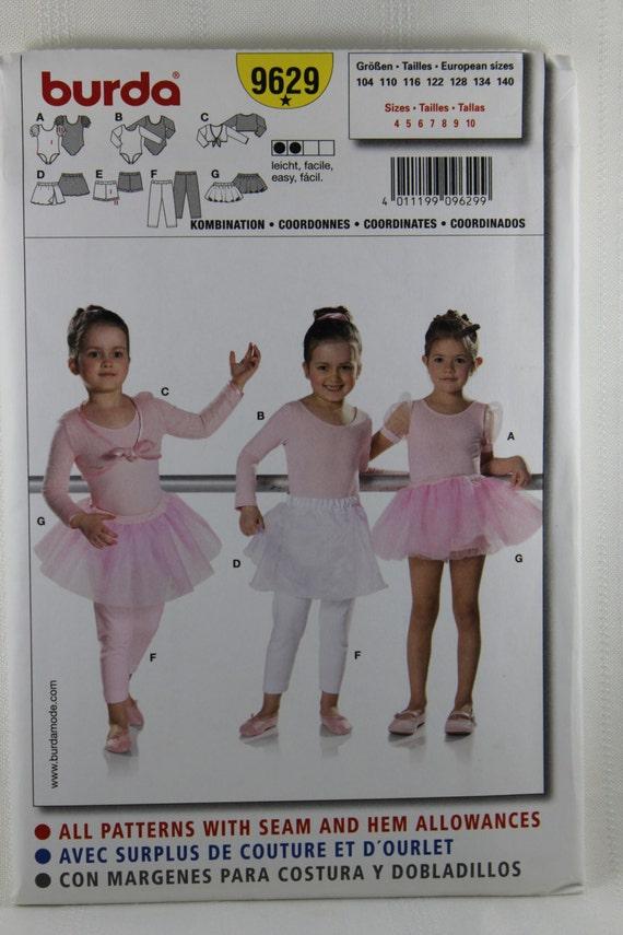Burda 9629 Mädchen Tanz Kostüm Muster Trikot Tutu Tanz