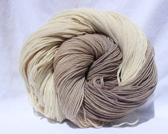 RTS Hand dyed yarn, Beige / cream yarn, superwash wool / nylon / tencel, fingering weight, sock yarn, 100g