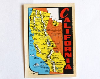 Original Vintage 1950's California Unused Luggage Decal! Rare!