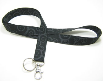 Fabric Lanyard, Breakaway Lanyard Option, Neck Lanyard, Black & Grey Lanyard, ID Badge Lanyard, Fashion Lanyard, Key Lanyard