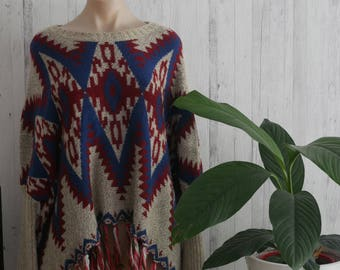 Red & Blue Poncho