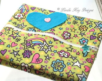 Colorful Felt Zipper Pouch Hearts Stars Flowers Rainbow Cosmetic Makeup Bag Jewelry Bag Fiber Art Clutch Camera Pouch Lorelie Kay Designs