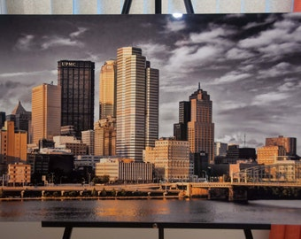 Pittsburgh Skyline Photo, selective color HDR photo, black, white and gold, 20 x 30 Aluminum photo print, Gilded Skyline