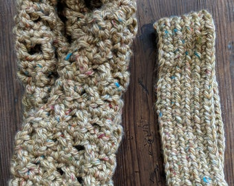 Light Gold Cowl and Headband