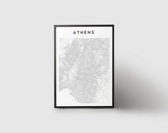 Athens Map Print