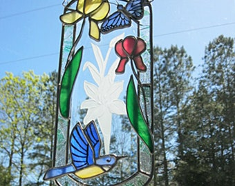 Beveled glass suncatcher with flowers #004 bluebird and butterfly with iris