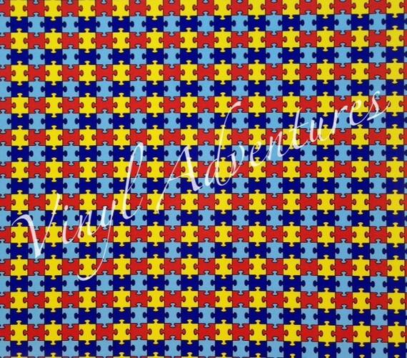 Autism Heat Transfer Vinyl Puzzle Patterned Htv Autism