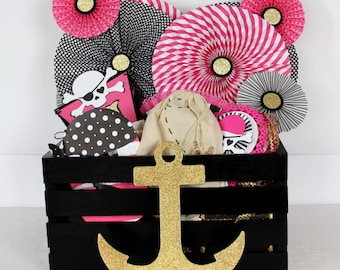 Pink Pirate Birthday Party / Crate / Decoration Set  / pirate / decorations / party in a box / The Celebrate Crate / Girl Pirate