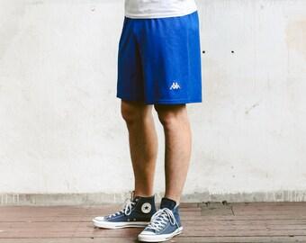 Men's Kappa Shorts . Retro Blue Shorts Men's 90s Sportswear Unisex Summer Shorts Vacation 1990s Swim Trunks . size Large L