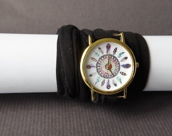 Dreamcatcher Watch Dream Catcher Watch Women's watches  Multistrand bracelet watches Infinity bracelet Stretch wrist tattoo cover watches
