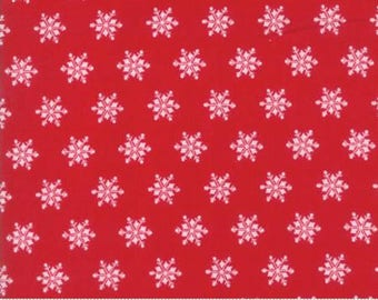 Sugar Plum Christmas Candy Red Snowflake Quilt Fabric by Bunny Hill of Moda Fabrics, 2917 11, Sold By the 1/2 Yard