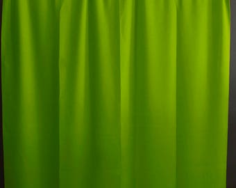 Solid Poplin Curtain Panel / Window Decor / Window Treatments / Backdrop Lime Green