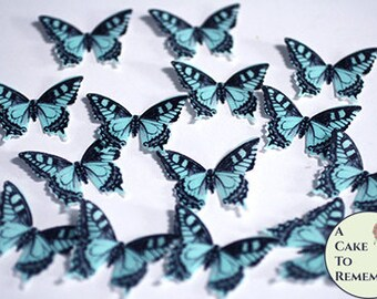 "28 blue edible butterflies, baby shower cake topper, 1.5"" wide. Gender reveal idea, butterfly wedding cupcake toppers."
