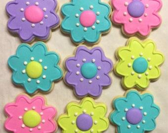Bright flower cookies - 1 dozen