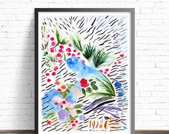 Abstract painting print. Abstract Watercolor Print. Floral abstract painting print. Living room wall art prints. Modern abstract art print