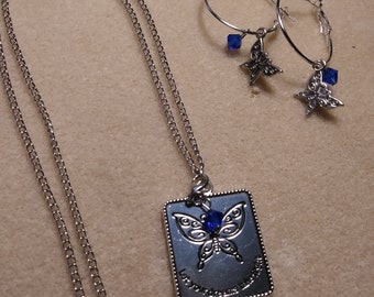 Let Your Dreams Take Flight pendant with butterflie,and matching butterflie earrings
