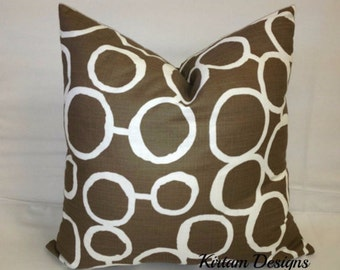 """Freehand circles, brown and white, cotton toss pillow 18"""" square"""