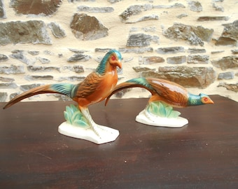 Pair of French Ceramic Art Deco DESVRES Pheasants