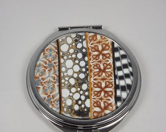 Black and gold Pocket mirror with polymer clay