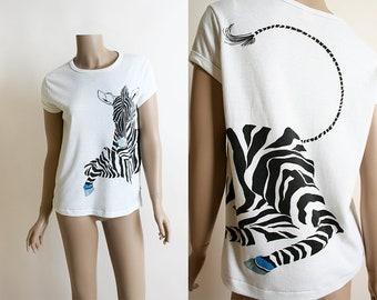 Vintage Zebra Shirt - Novelty Print White Cotton Wrap Around Zebra Jungle Safari Shirt - 1980s - Large