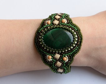 Embroidery cuff bracelet for women For birthday embroidery bracelet Spring jewelry Statement cuff boho bracelet green bracelet spring