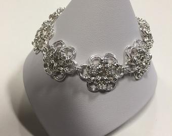 Silver Flower Chain Maille Bracelet