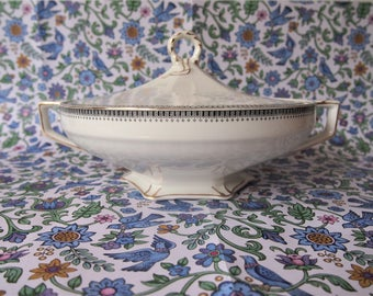 "Vintage Grindley Art Deco Round Covered Vegetable Bowl Tureen ""The Victory"" 20s"
