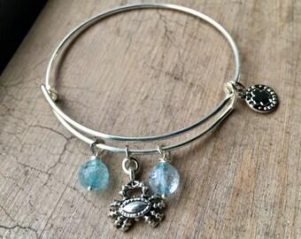 Adjustable Silver Charm Bangle With Crab Charm& Blue Quartz Gemstones