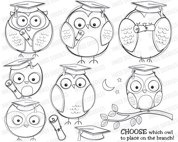 Items Similar To Graduation Owls School College Education Doodles Cute Graduate Wise Owl Stamps Diploma Scroll Graduating Party Kids Clipart Graphics 30037