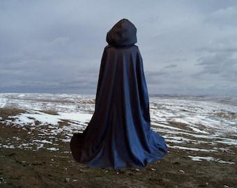 Black Hooded Cloak Cape Fleece Hooded Renaissance  Halloween Medieval Gothic  Costume Wedding  Fairy Vampire