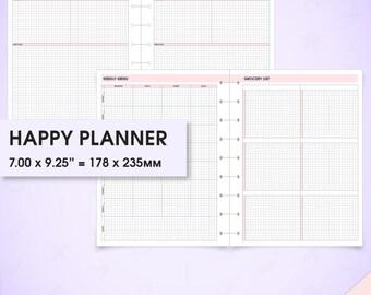 Meal & menu planner happy planner printable inserts (meal plan, recipe cards, menu planner, grocery list, shopping list, weekly meal planner
